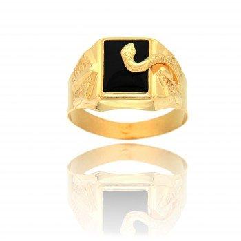 AvenueDuBijou - Anello a forma di serpente in onice, da uomo, oro 750/1000 e Oro giallo, 20, cod. 6331-60
