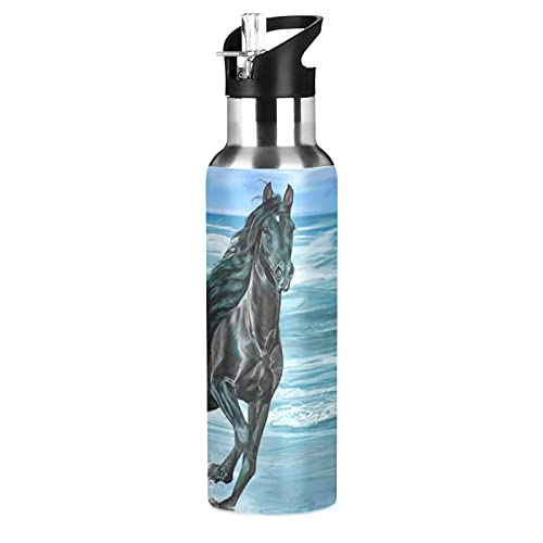 Arte Lindo Regalo Animal Caballo Botella de Agua Deportiva con Pajita Acero Inoxidable, 600ML Botellas Termica Sin BPA para Niños Deporte Gimnasio Ciclismo Escuela