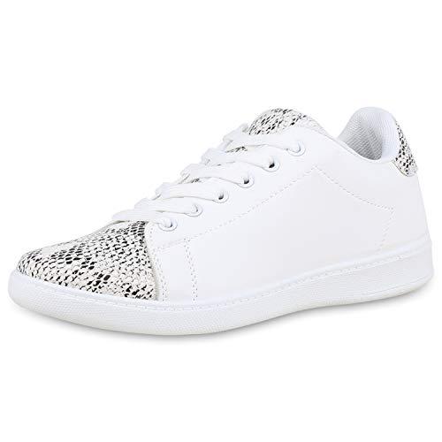 SCARPE VITA Damen Sneaker Low Basic Freizeitschuhe Schnürer Leder-Optik Schuhe Flats Turnschuhe Metallic Sportschuhe 176955 Weiss Snake 39