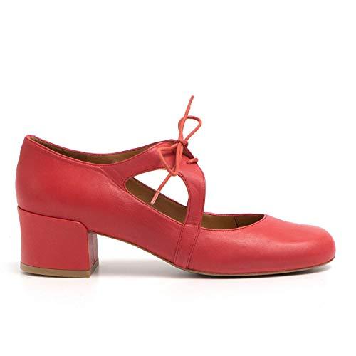 Audley - Zapatos Cordones Mujer Rojo Rojo