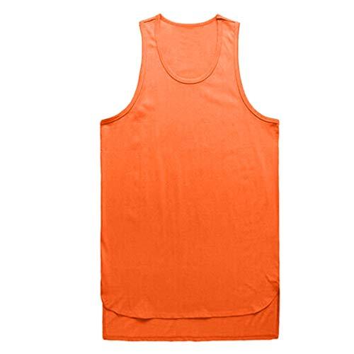 KaloryWee Herren Unregelmäßig Sommer Ärmellose Weste T Shirt Pure Color Tank Tops