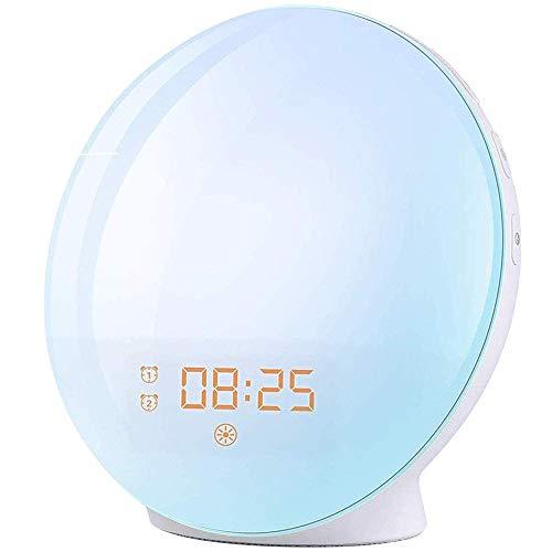 Wake Up Light Despertador Luz - 2019 LED Despertador Amanecer Simulación de Amanecer y Anochecer, 2 Alarmas, 7 Luces de Colores, 20 Niveles de Brillo, Función Snooze, 7 Sonidos Naturales, Radio FM