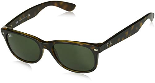 Ray-Ban RB2132 New Wayfarer - Gafas de sol unisex (Tortoise Frame Solid Brown Lens, 55 mm)
