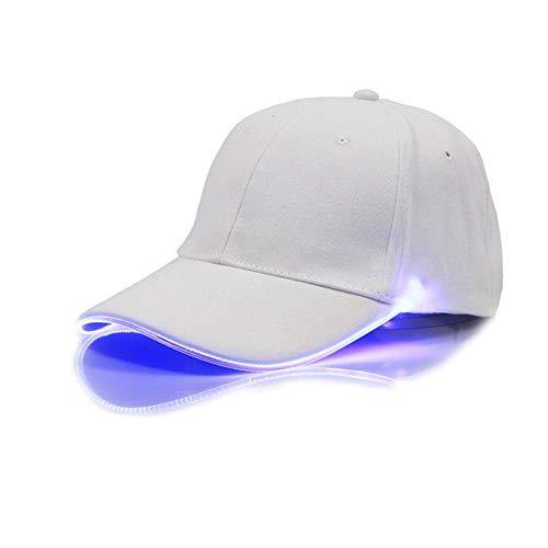 FEDBNET Moda y fresco sombrero de luz LED, casquillo de béisbol ajustable con luz LED, sombrero de hip-hop, accesorios para club y fiesta, blanco, azul, Taille unique