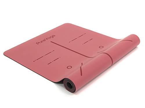 Pure Yoga Yogamatte - Extrem rutschfeste PU-Oberfläche – Naturkautschuk – Extra Breit - Umweltfreundlich - Ausrichtungssystem - inklusive Tragegurt (183 cm x 68 cm x 0,4 cm) (Pastelrosa)