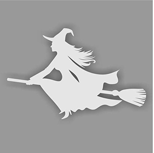 easydruck24de Aufkleber Hexe auf Besen, Farbe: Silber, Art. kfz_270 Links für Auto, LKW, Motorrad, Roller, Fahrzeuge, Laptops, Notebooks, Sticker, Hexenaufkleber
