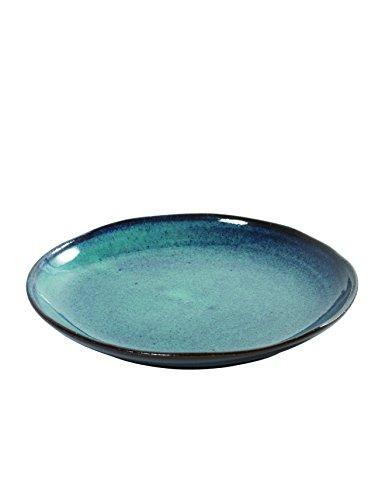 Serax Teller Dessertteller Frühstücksteller Kuchenteller, Keramik, grün-weiß, grün oder blau gepunktet, ø 22 cm (blau gepunktet)