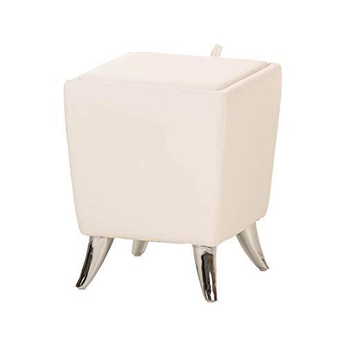 Taburete Puff De Almacenamiento Roxy I Taburete Reposapiés Tapizado En Simil Cuero I Otomana De Almacenaje Moderna I Color:, Color:Blanco