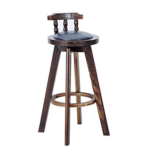 Taburetes de bar de madera maciza, taburetes altos redondos, taburetes de bar de cafetería con taburetes de respaldo, taburetes de bar de ocio para el hogar, taburetes altos antideslizantes retro, a