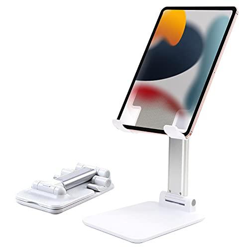Soporte para tableta plegable y ajustable, Soporte para teléfono / tableta compacto y extensible para escritorio, Soporte plegable para teléfono de escritorio multiusos, Diseño duradero antideslizante