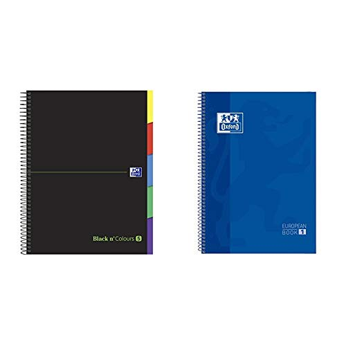 Oxford 942736 Cuaderno microperforado Black N'Colours A4, Tapa Extradura, 5x5 + Cuaderno Europeanbook 1, microperforado, tapa extradura, espiral, a4+, cuadrícula 5x5, color azul oscuro