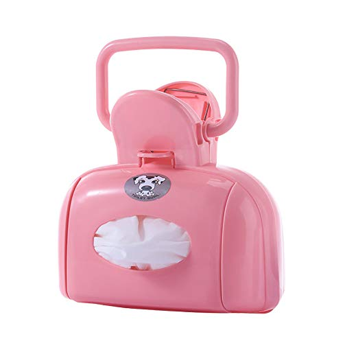 Caige Dog Pooper Scooper,with Bag Dispenser Easy Grass and Gravel Pick Up,Pink