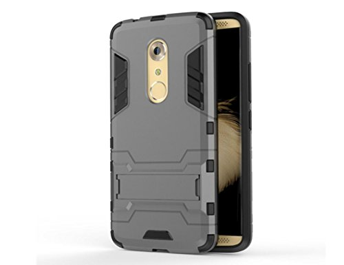 Bllosem ZTE Axon 7 Case Hybrid Dual Layer PC+TPU Full Body Shock Resistant Armour with Kickstand Function Case for ZTE Axon 7 Gray