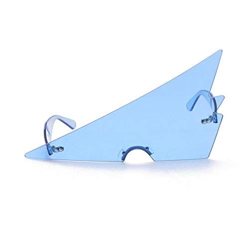Gafas de Sol Gafas De Sol Sin Marco Triangulares De Gran Tamaño para Mujer, Gafas Sin Montura Vintage para Mujer, para Hombre, Gafas De Sol Exageradas Únicas, Azules