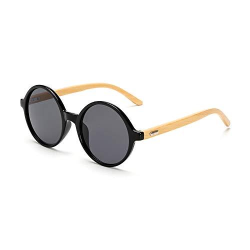 Huguo Gafas de Sol de Madera Mujeres Gafas de Sol Gafas de Sol bambú para Mujeres Hombres Espejo Gafas Retro