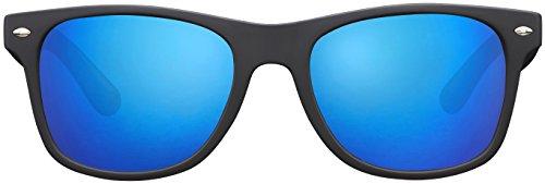 Sonnenbrille La Optica UV 400 Unisex Damen Herren - Gummiert Schwarz (Gläser: Polarisiert Blau Verspiegelt)