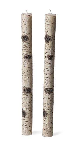 Set of 2 - Birch Bark Taper Candles