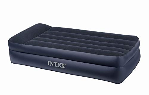 Intex Twin Raised Pillow Rest Flocked Airbeds with Built-In Air Pump (2 Pack)