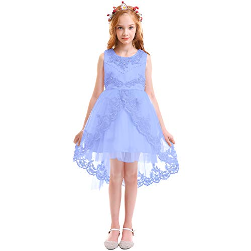 Little/Big Girls Lace Beaded Rhinestone Bridesmaid Wedding Flower Tulle Dresses Party High Low Dance Tutus Evening Prom Gown Sky Blue 12-13 Years