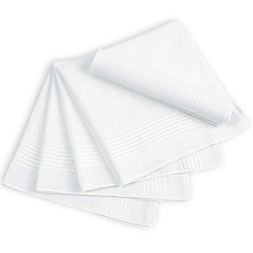 Men's Handkerchiefs, Ohuhu Cotton Handkerchiefs, 13 Pack 100% Pure Cotton White Pocket Square Hankies/Pocket Handkerchief for Men Women