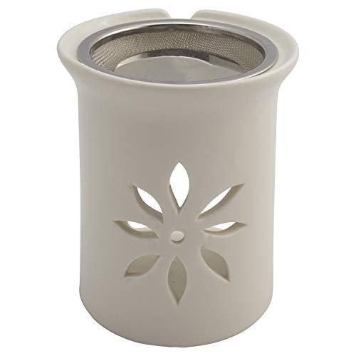 Räucherstövchen mit Sieb und Metallscheibe - weiße Keramik – Design Sternenblume – H 11cm