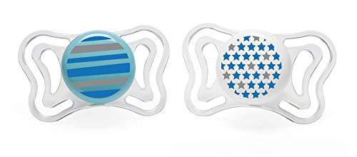 Chicco Physio Light - Pack de 2 chupetes de silicona 6-16 m, color azul (diseños surtidos)