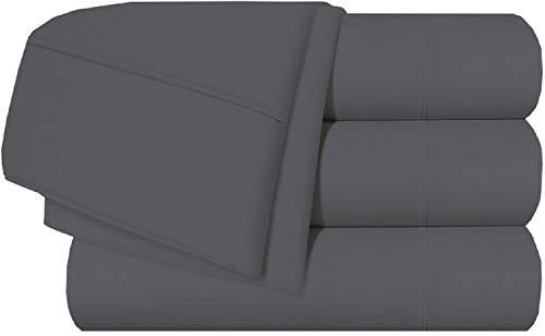 Bettwäsche-Set, 4-teilig, Fadenzahl 400, 100 % Baumwolle, sehr weich, passend für Matratzen mit einer Tiefe von 25,4 - 45,7 cm Modern Split King Size-5PCs Dunkelgrau