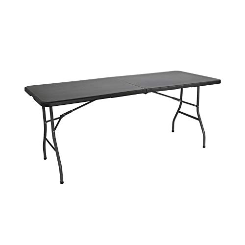Mesa Catering Plegable Rectangular Portatil Negra de 180 cm...