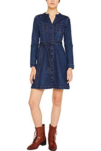 edc by Esprit 109cc1e027 Vestido, Azul (Blue Dark Wash 901), Small para Mujer