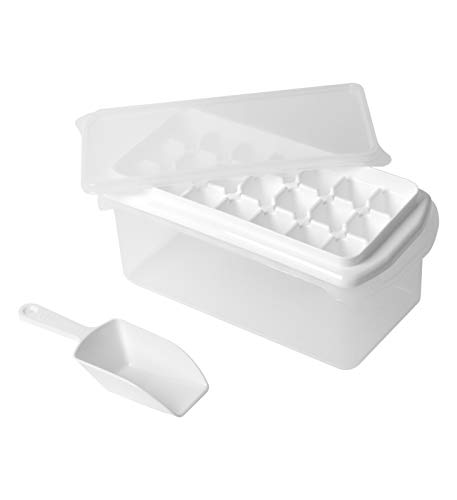 Ice Cube Bin Bucket Trays - Ice Holder, Container, Storage for Freezer, Refrigerator with Scoop, Lids