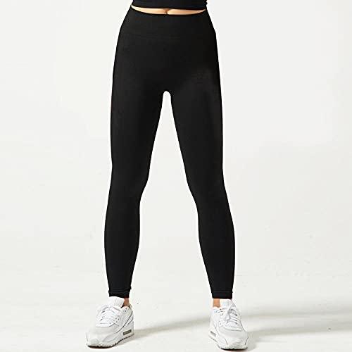 Leggings Sexy,21 Nuevas señoras Pantalones de yoga transfronteriza Europa y los Estados Unidos Color sólido Pantalones de aptitud apretados sin fisuras Pantalones deportivos para correr-negro_METRO