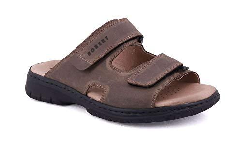 ROBERT 03010 marrone ciabatte sandali uomo strappi comfort pelle 42