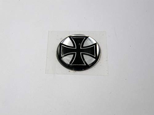 3D Doming Aufkleber rund Eisernes Kreuz schwarz-Chrom (4er Set)