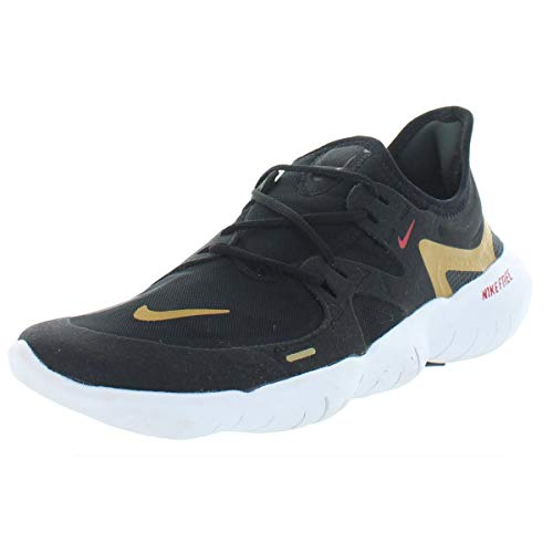 Nike Womens Free RN 5.0 Running Shoes, Black/Anthracite/Metallic Gold, Size 7.0