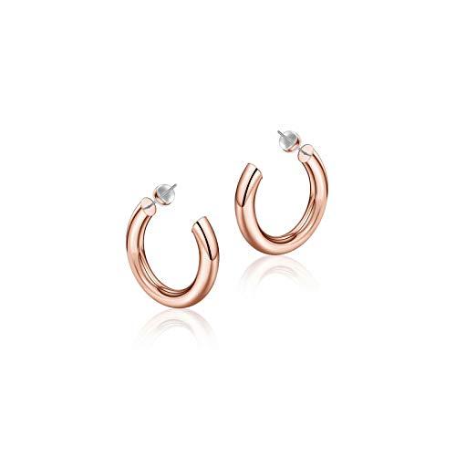 Rose Gold Hoop Earrings for Women, 14K Rose Gold Plated Lightweight Chunky Open Hoops 20mm Rose Gold Hoop Earrings for Women