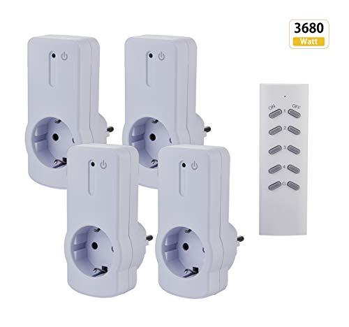 ZEYUN Enchufes Inalámbricos con control remoto (4+1) para interiores, 3680 vatios, alcance 30 m, con Control Remoto, Blanco (4 PACK)
