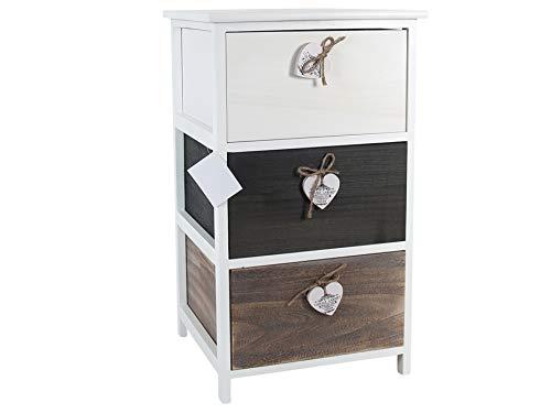 Love Commode/Ladekast met 3 laden 40x40x70cm - Ladekast – Hout – Koffiekleur – Hartjes Detail - Opbergen - Meubel