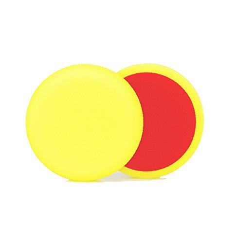 ALCLEAR 558030M Schleifpad, Auto Polierschwämme, medium, Durchmesser : 80x25 mm, gelb, 2er Set, Polierpad polieren Pad Schwamm Polierschaum f. Poliermaschine