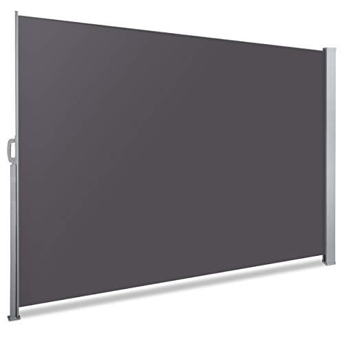 VOUNOT Seitenmarkise Ausziehbar für Balkon, Garten und Terrasse, Sichtschutz, Windschutz, Wasserdicht, Sonnenschutz, 140 x 300 cm, Grau