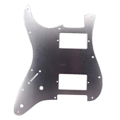 Baosity Aluminum Alloy HH Guitar Pickguard Anti-Scratch Plate for Strat ST Electric Guitar Accessory - Silver, as described