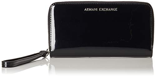 ARMANI EXCHANGE Zip-around Wristlet Wallet - Portafogli Donna, Nero (Black), 10x10x10 cm (W x H L)