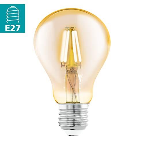 EGLO LED E27 Lampe, Amber Vintage Glühbirne, LED Lampe für Retro Beleuchtung, 4 Watt (entspricht 30 Watt), 320 Lumen, E27 LED warmweiß, 2200 Kelvin, LED Leuchtmittel, Edison Glühbirne A75, Ø 7,5 cm
