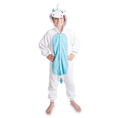 Emolly Fashion Kids Animal Unicorn Pajama Onesie - Soft and Comfortable with Pockets (4, Blue/WHT)