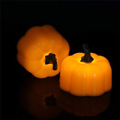Luces de Halloween Calabaza dorada Medio dibujo Mecha móvil Velas cónicas LED - Velas de ventana amarillas ámbar y velas sin llama - Adecuadas for la iglesia, Navidad, Decoración de la mesa de comedor