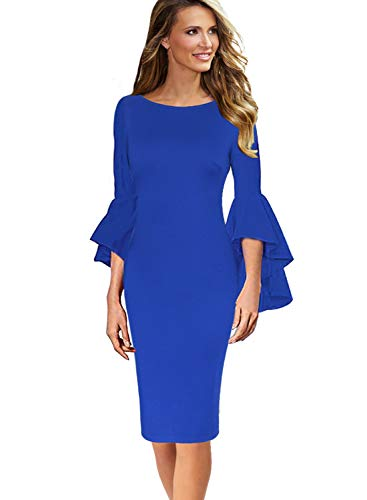 VFSHOW Womens Ruffle Bell Sleeves Business Cocktail Party Sheath Dress 1236 BLU XS
