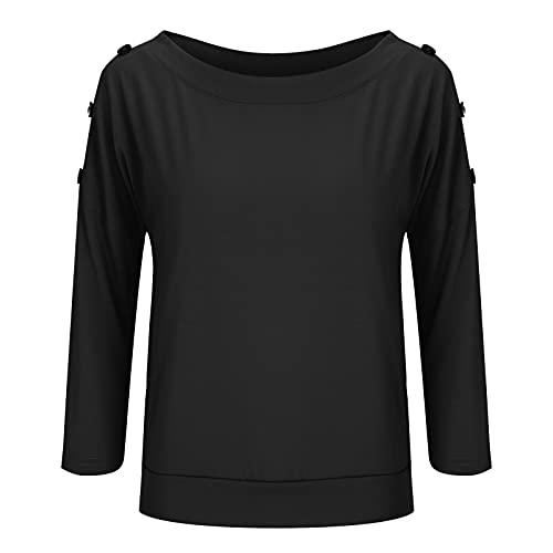 Lalaluka Camiseta de manga larga para mujer, manga 3/4, cuello redondo, botones sueltos, túnica, blusa, sudadera, camisa., Negro , L