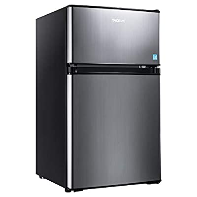Compact refrigerator, TACKLIFE 2 Door Mini Fridge with Freezer, 3.1 Cu.Ft, Stainless Steel, Energy Star, With LED Light, Ideal Small Refrigerator for Bedroom, Office, Dorm, RV - HPVFR310