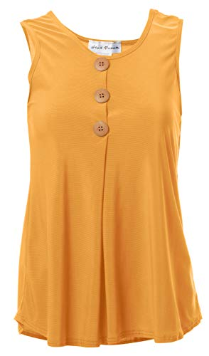Star Vixen Women's Plus Size Sleeveless Button Front Flowy Tank Top with Pleated Detail, Mustard, 3X