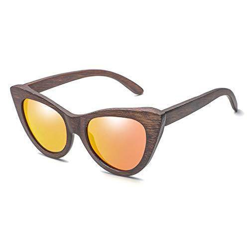 Gafas sol Madera de bamb del Ojo de Gato de Moda de Las Mujeres, vidrios y anteojos polarizados de la Personalidad de Madera Gafas de bamb (Color : Red)