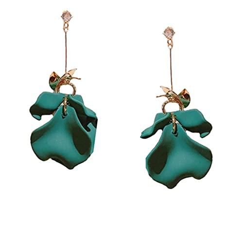 XRHDX Verde oscuro claro hoja resina flor pétalo media longitud pendientes pendientes pendientes pendientes mujer